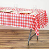 "54""x72"" White/Red Wholesale Disposable Waterproof Checkered Plastic Vinyl Tablecloth"