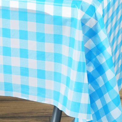 "54"" x 72"" Disposable Checkered Plastic Vinyl Picnic Birthday Party Home Tablecloth - White/Serenity Blue"