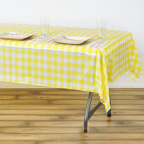 54 Quot X 72 Quot White Yellow Disposable Checkered Plastic