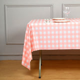 "54"" x 108"" Disposable Checkered Plastic Vinyl Picnic Birthday Party Home Tablecloth - White/Pink"