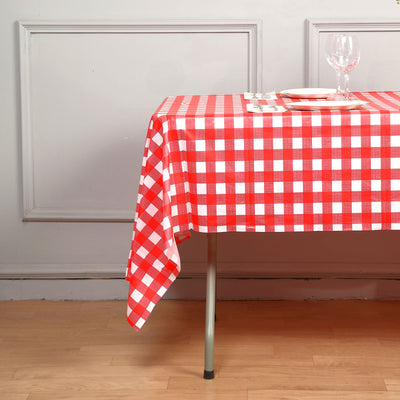 "54"" x 108"" Disposable Checkered Plastic Vinyl Picnic Birthday Party Home Tablecloth - White/Red"