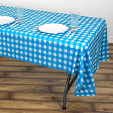 "Buffalo Plaid Tablecloth | 54"" x 108"" White/Serenity Blue Rectangular 