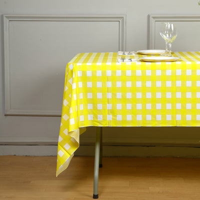 "Buffalo Plaid Tablecloth | 54"" x 108"" White/Yellow Rectangular 