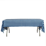 "Buffalo Plaid Tablecloth | 54"" x 108"" White/Navy Rectangular 