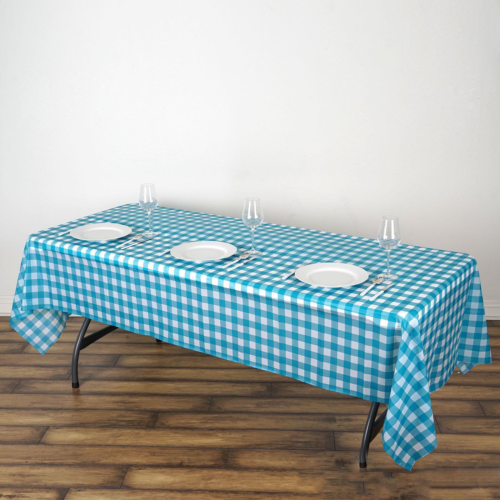 Premium Thickness Disposable Table Cover Classic Pink and Baby Blue 108 x 54 Inch 8 Plastic Tablecloths 4 Each Color
