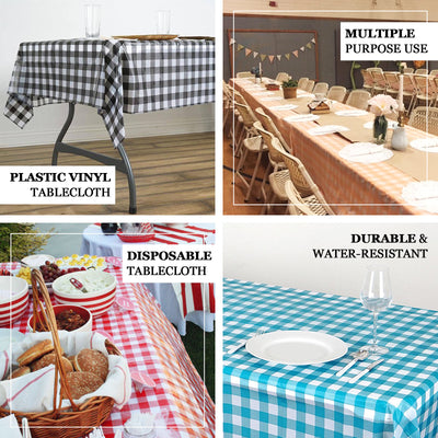 "Buffalo Plaid Tablecloth | 54"" x 108"" White/Turquoise Rectangular 