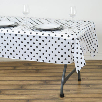 "54"" x 72"" Disposable Polka Dots Plastic Vinyl Picnic Birthday Party Home Tablecloth - White/Black"