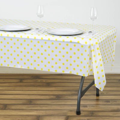 "54"" x 72"" Disposable Polka Dots Plastic Vinyl Picnic Birthday Party Home Tablecloth - White/Yellow"