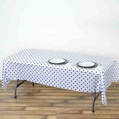 "54"" x 108"" 10 Mil Thick Perky Polka Dots Waterproof Tablecloth PVC Rectangle Disposable Tablecloth - White/Royal Blue"