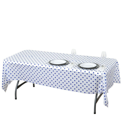 "54""x108"" Spill Proof & Waterproof Wipe Clean Polka Dots tablecloth - White/Royal Blue"