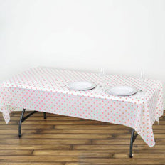 "54"" x 108"" 10 Mil Thick Perky Polka Dots Waterproof Tablecloth PVC Rectangle Disposable Tablecloth - Blush/Rose Gold"