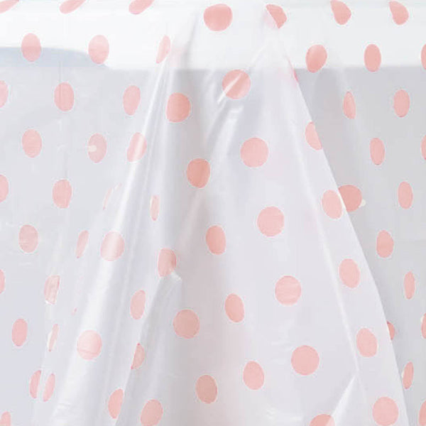 54 Quot X 108 Quot Blush Rose Gold Disposable Polka Dots Plastic