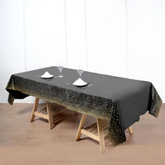 Confetti Dots Waterproof Tablecloth, PVC Rectangle Disposable Tablecloth - Black/Gold