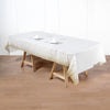 Confetti Dots Waterproof Tablecloth, PVC Rectangle Disposable Tablecloth - White/Gold