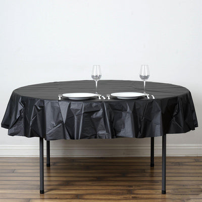 "84"" Black Crushed Design Plastic Round Tablecloth"