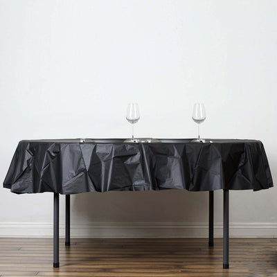 "84"" Black 10 Mil Thick Crushed Design Waterproof Tablecloth PVC Round Disposable Tablecloth"