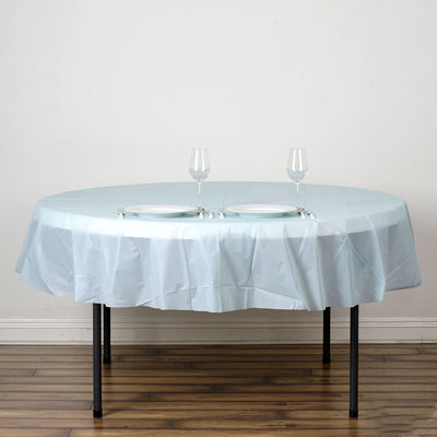 "84"" Blue 10 Mil Thick Crushed Design Waterproof Tablecloth PVC Round Disposable Tablecloth"