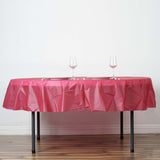 "84"" Burgundy Crushed Design Plastic Round Tablecloth"