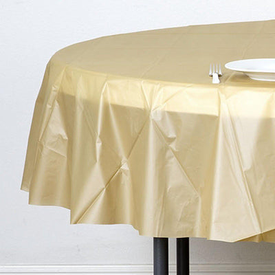 "84"" Gold 10 Mil Thick Crushed Design Waterproof Tablecloth PVC Round Disposable Tablecloth"