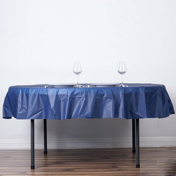 "84"" Navy Blue 10 Mil Thick Crushed Design Waterproof Tablecloth PVC Round Disposable Tablecloth"