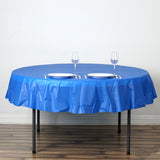 "84"" Royal Blue Crushed Design Plastic Round Tablecloth"