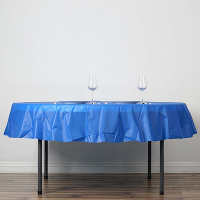 "84"" Royal Blue 10 Mil Thick Crushed Design Waterproof Tablecloth PVC Round Disposable Tablecloth"