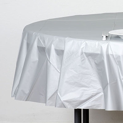 "84"" Silver Crushed Design Plastic Round Tablecloth"