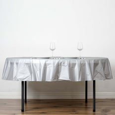 "84"" Silver 10 Mil Thick Crushed Design Waterproof Tablecloth PVC Round Disposable Tablecloth"