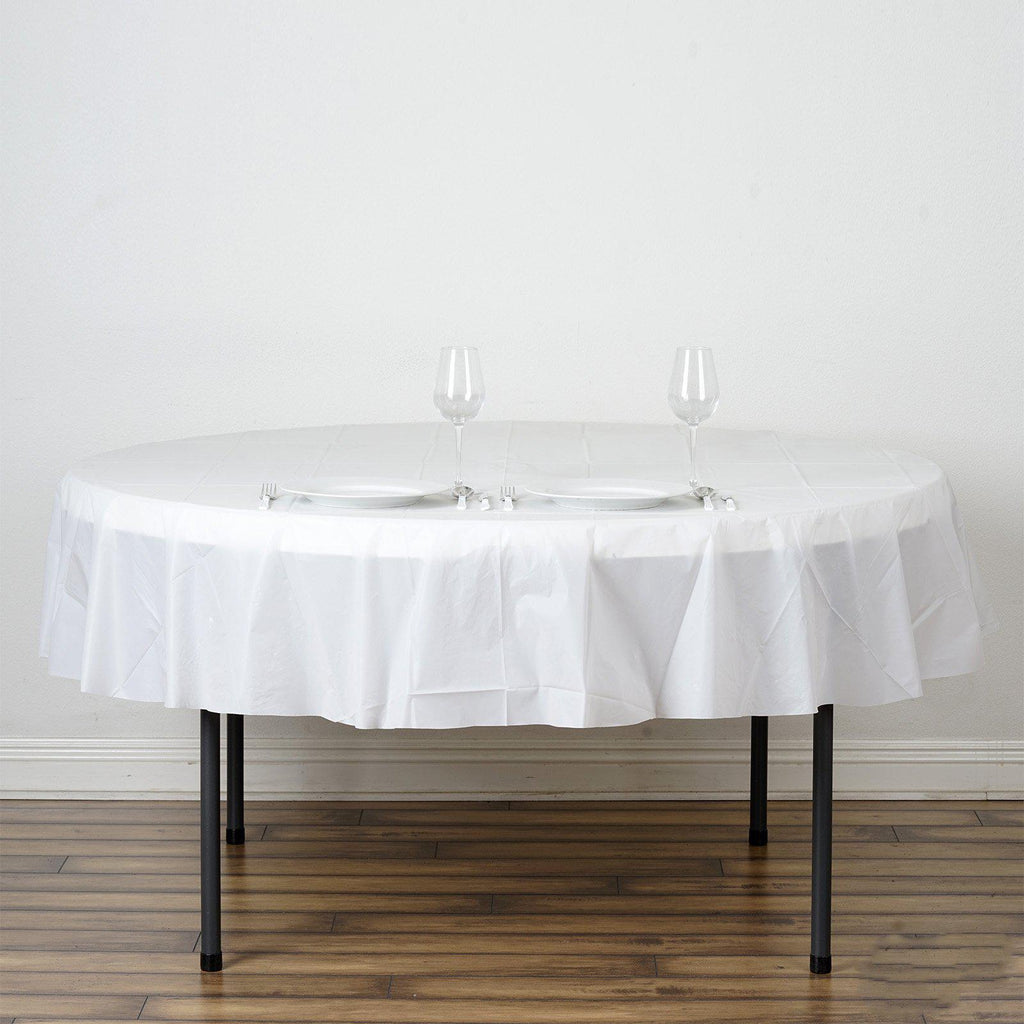 84 Quot White Crushed Design Plastic Round Tablecloth