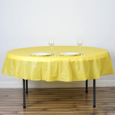 "84"" Yellow 10 Mil Thick Crushed Design Waterproof Tablecloth PVC Round Disposable Tablecloth"
