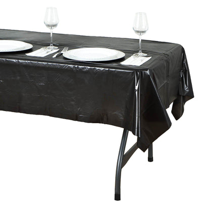 "54"" x 72"" Black 10mil Thick Disposable Waterproof Vinyl Rectangular Tablecloth"