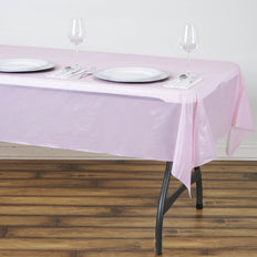 "54"" x 72"" Pink 10 Mil Thick Waterproof Tablecloth PVC Rectangle Disposable Tablecloth"