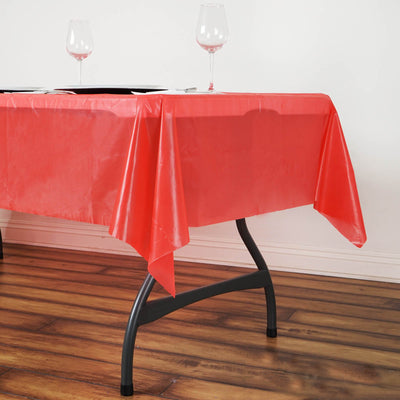 "54"" x 72"" Red 10 Mil Thick Waterproof Tablecloth PVC Rectangle Disposable Tablecloth"