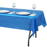 "54"" x 72"" Royal Blue 10 Mil Thick Waterproof Tablecloth PVC Rectangle Disposable Tablecloth"