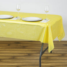 "54"" x 72"" Yellow 10 Mil Thick Waterproof Tablecloth PVC Rectangle Disposable Tablecloth"