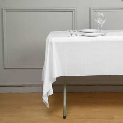 "54"" x 108"" White 10 Mil Thick Waterproof Tablecloth PVC Rectangle Disposable Tablecloth"
