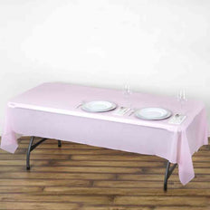 "54"" x 108"" Pink 10 Mil Thick Waterproof Tablecloth PVC Rectangle Disposable Tablecloth"