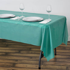 "54"" x 108"" Hunter Emerald Green 10mil Thick Disposable Vinyl Rectangular Tablecloth"