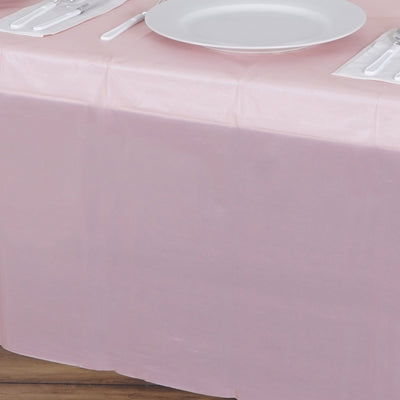 "54"" x 108"" 10 Mil Thick Waterproof Tablecloth PVC Rectangle Disposable Tablecloth - Rose Gold