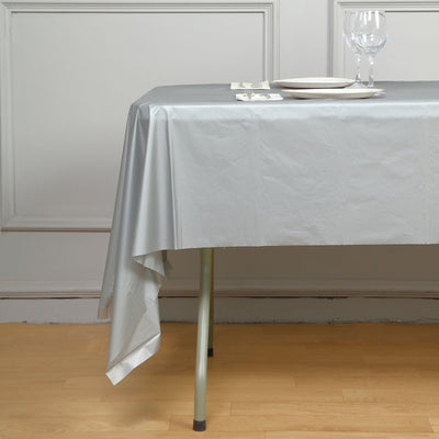"10mil Thick Disposable Plastic Vinyl Picnic Banquet Birthday Party Home Tablecloth - Silver - 54"" x 108"""