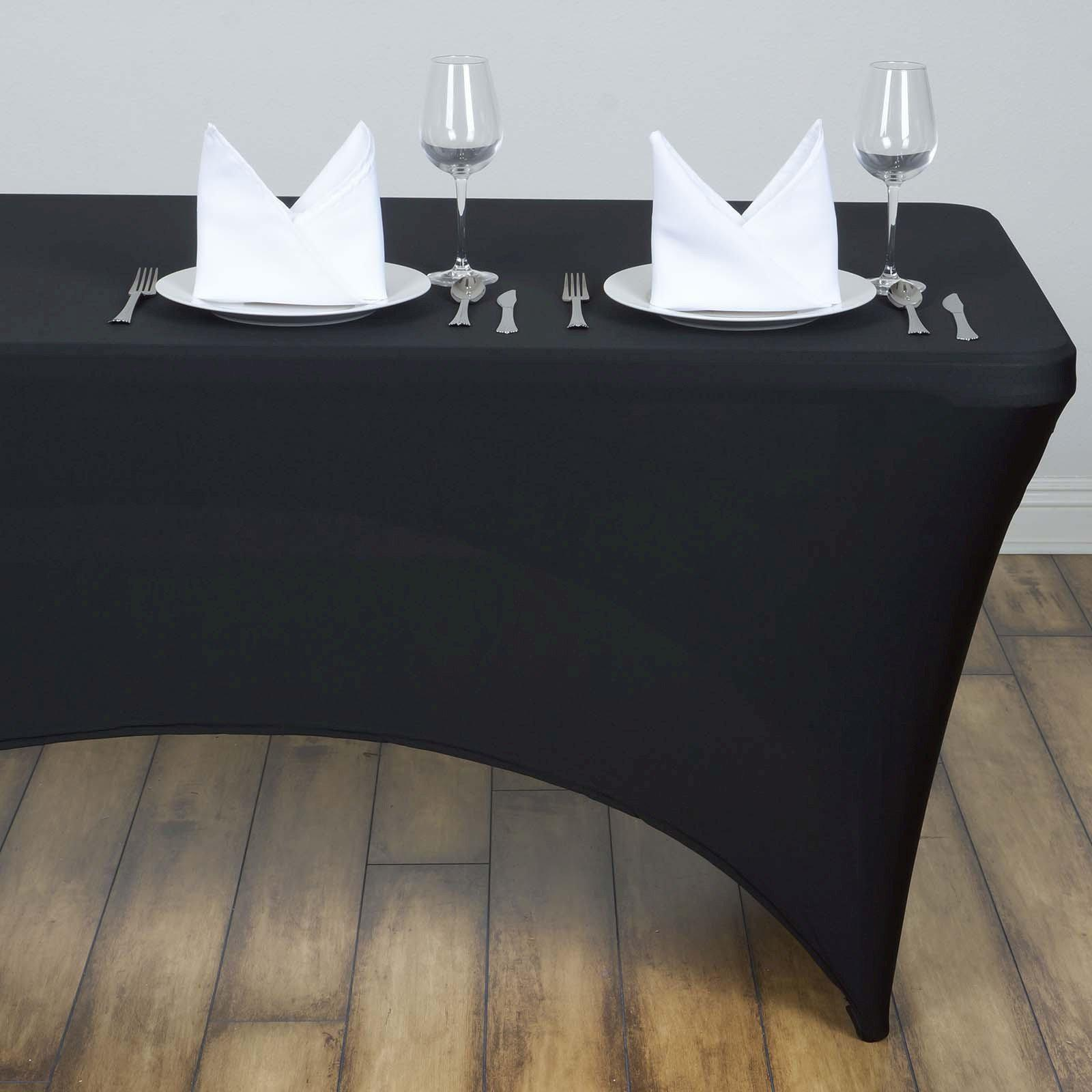 4 Ft Rectangular Spandex Table Cover Black