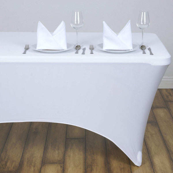 4FT White Rectangular Stretch Spandex Tablecloth