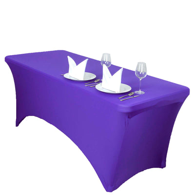 5 FT Purple Rectangular Stretch Spandex Tablecloth