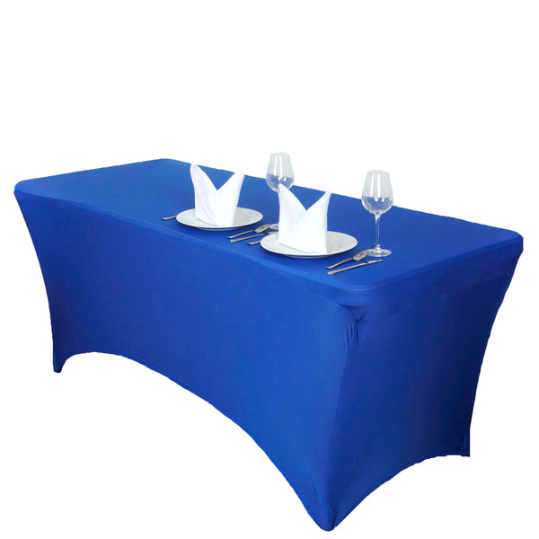 5FT Royal Blue Rectangular Stretch Spandex Tablecloth