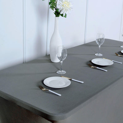 6FT Charcoal Gray Rectangular Stretch Spandex Tablecloth