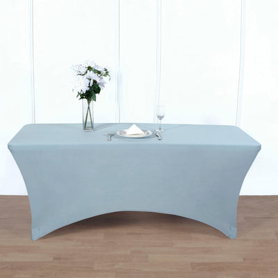 6FT Dusty Blue Rectangular Stretch Spandex Tablecloth