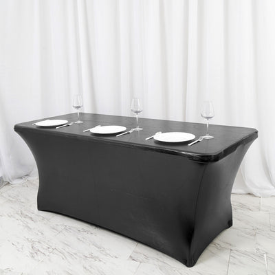 6FT Metallic Black Rectangular Stretch Spandex Table Cover