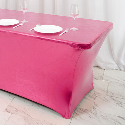 6FT Metallic Pink Rectangular Stretch Spandex Table Cover