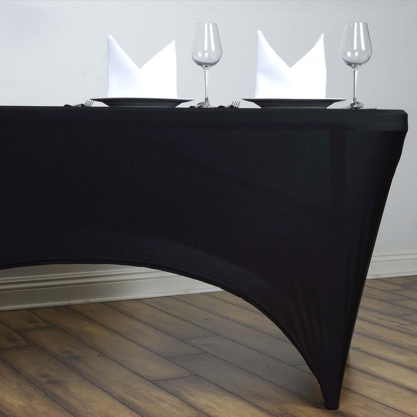 6 Ft Rectangular Spandex Table Cover Black