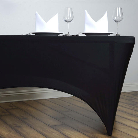 Beau 6 Ft Rectangular Spandex Table Cover   Black